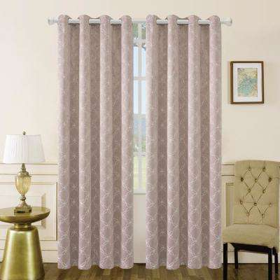 Amelia 126 in. L x 50 in. W Blackout Polyester Curtain in Blush