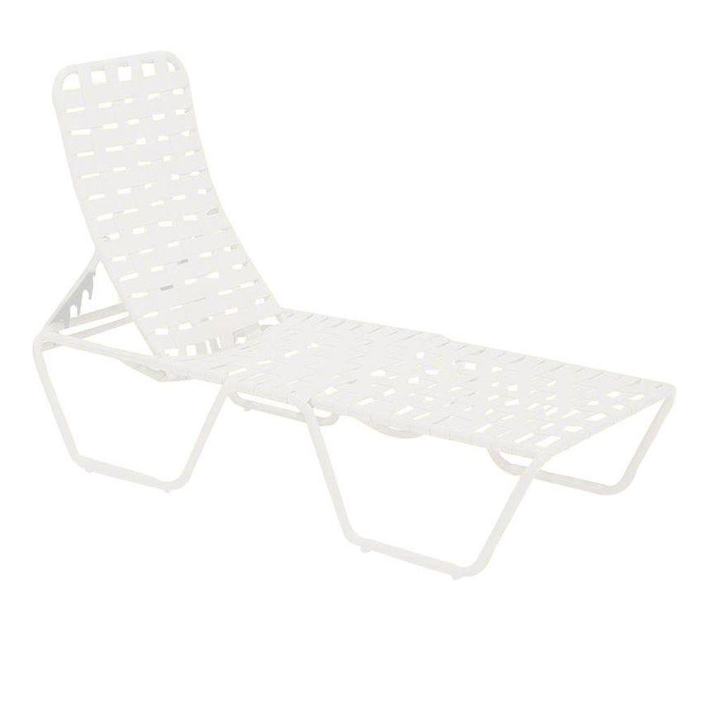 Tradewinds lido crossweave contract white patio chaise for Chaise 5013
