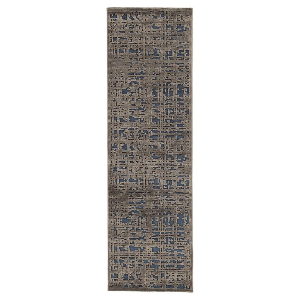 Machine Made Dress Blues 3 ft. x 8 ft. Abstract Runner Rug