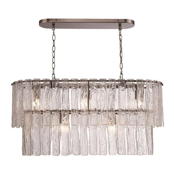 5-Light Antique Brass Chandelier with Ice Glass Shade