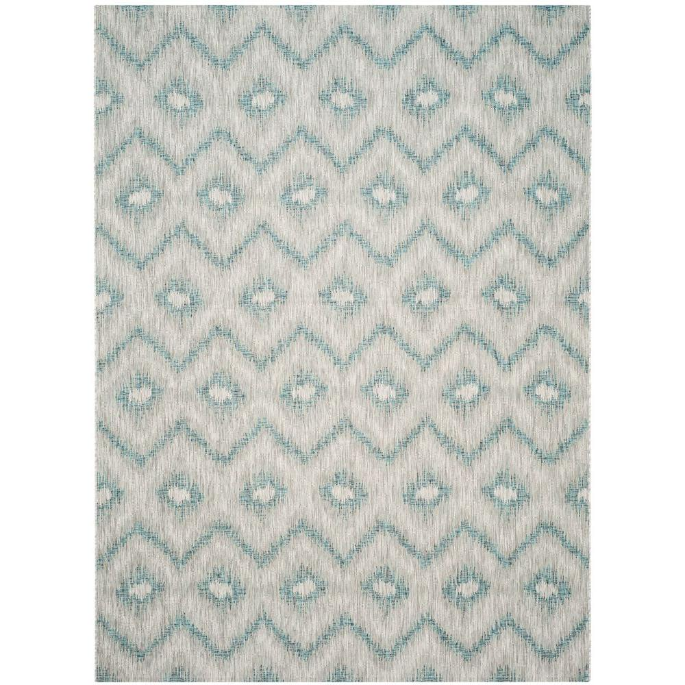 Safavieh Courtyard Gray Blue 9 Ft X 12 Ft Indoor Outdoor Area Rug