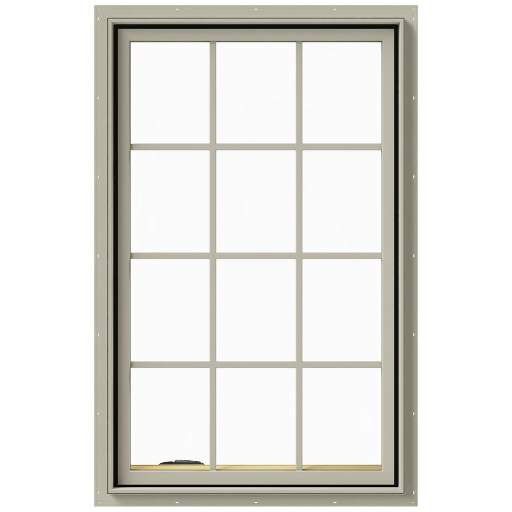 JELD-WEN 30 in. x 48 in. W-2500 Series Desert Sand Painted Clad Wood Left-Handed Casement Window with Colonial Grids/Grilles