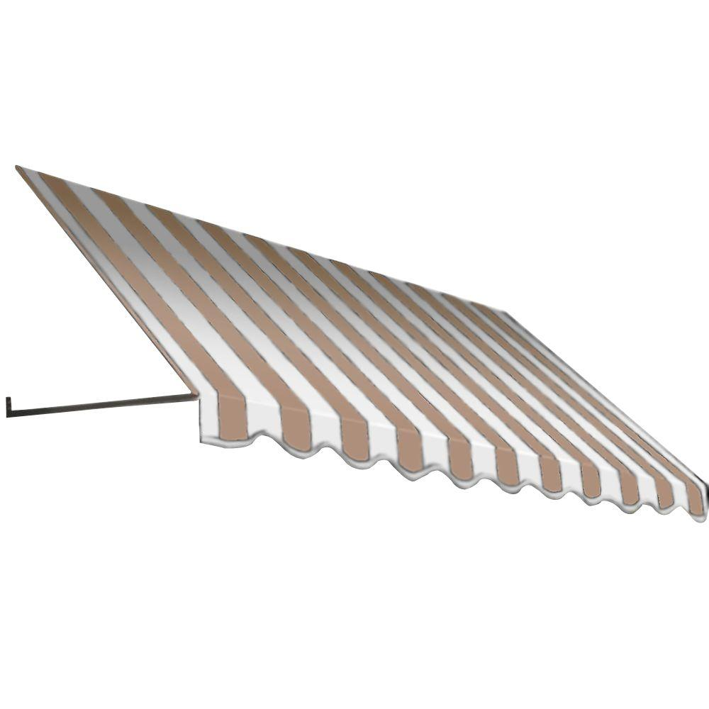 AWNTECH 8.375 ft. Dallas Retro Window/Entry Awning (56 in. H x 36 in. D) in Tan/White Stripe