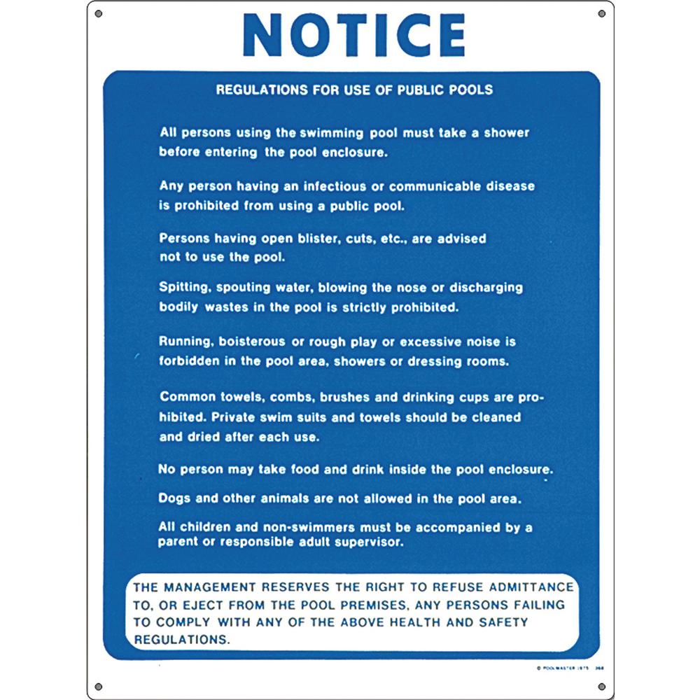 Residential or Commercial Swimming Pool Signs, Public Pool Regulations
