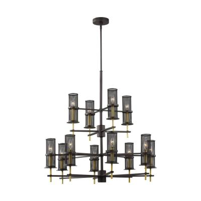 Palmyra 12-Light Oil Rubbed Bronze and Burnished Brass Chandelier with Metal Mesh Shades