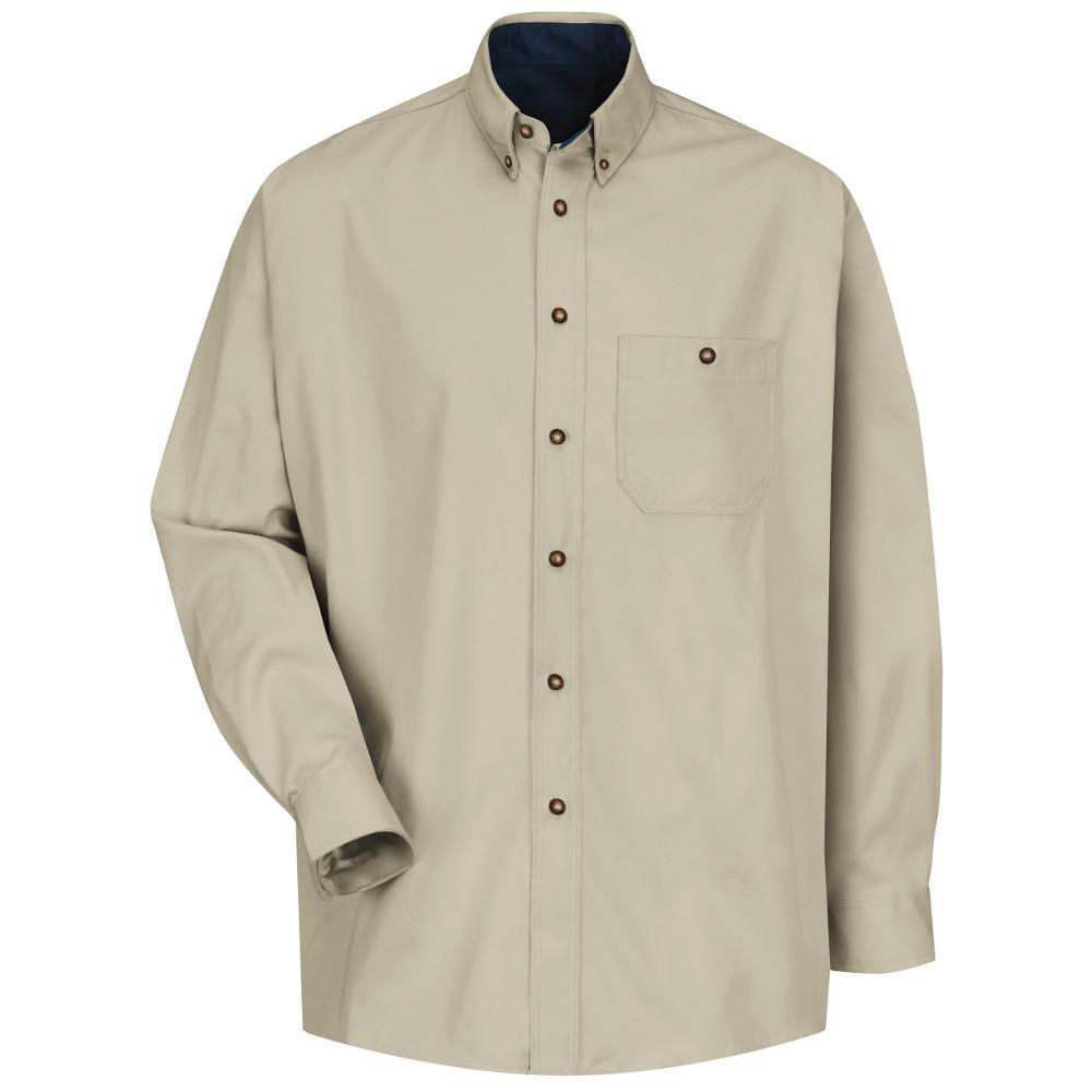 Men's Size 3XL x 36/37 Stone/Navy Cotton Contrast Dress Shirt