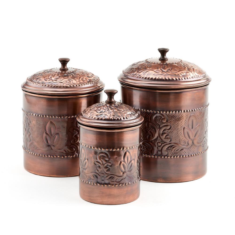 """3-Piece 5 Qt., 4 Qt., 3 Qt. Antique Copper """"Victoria"""" Embossed Canister Set"""