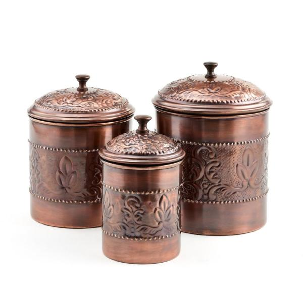 Victoria 3-Piece Antique Copper Embossed Steel Canister Set