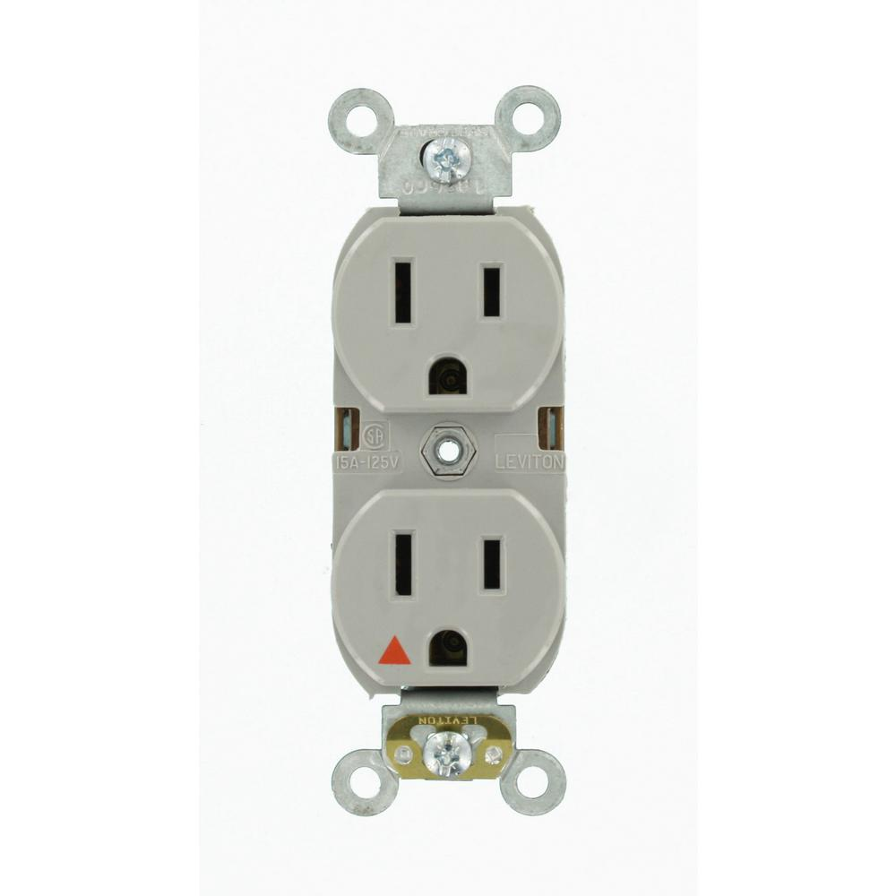 15 Amp Industrial Grade Heavy Duty Islolated Ground Duplex Outlet, Gray