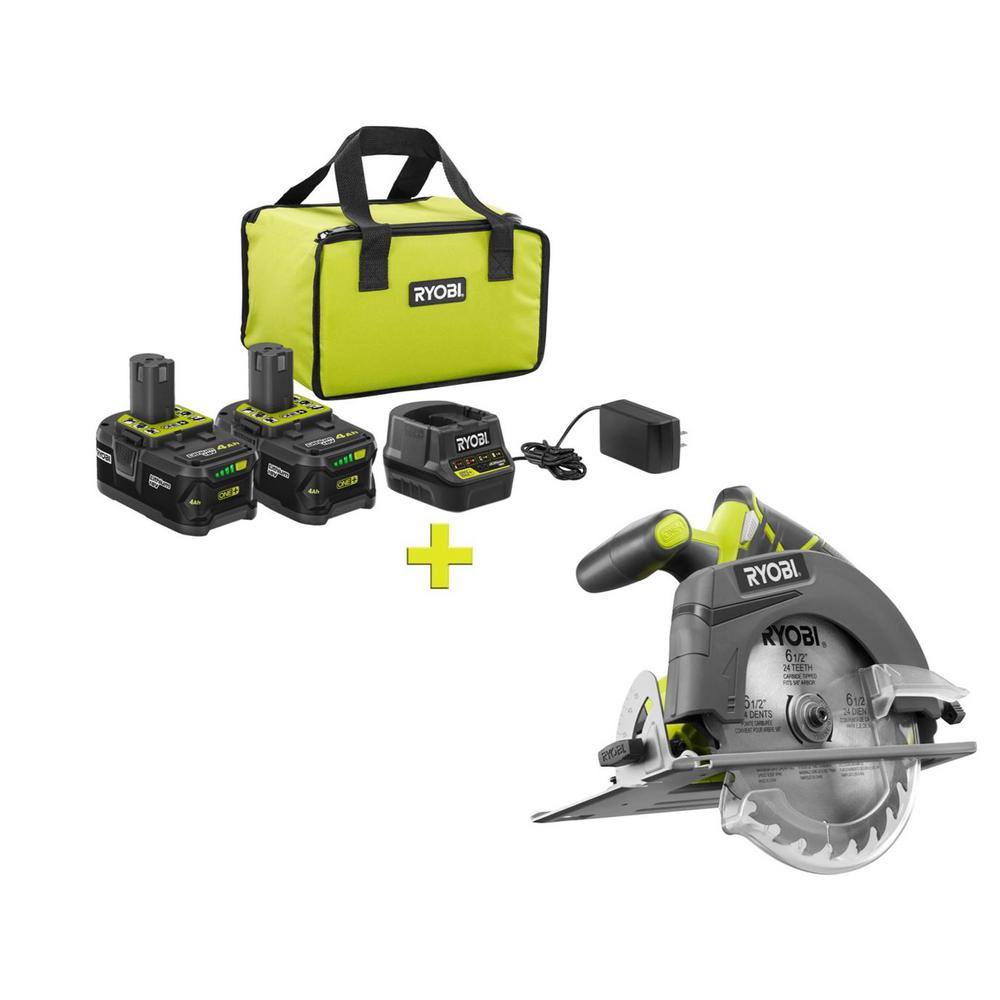 RYOBI 18-Volt ONE+ High Capacity 4.0 Ah Battery (2-Pack) Starter Kit with Charger and Bag with FREE ONE+ 6-1/2 in. Circ Saw was $291.0 now $99.0 (66.0% off)
