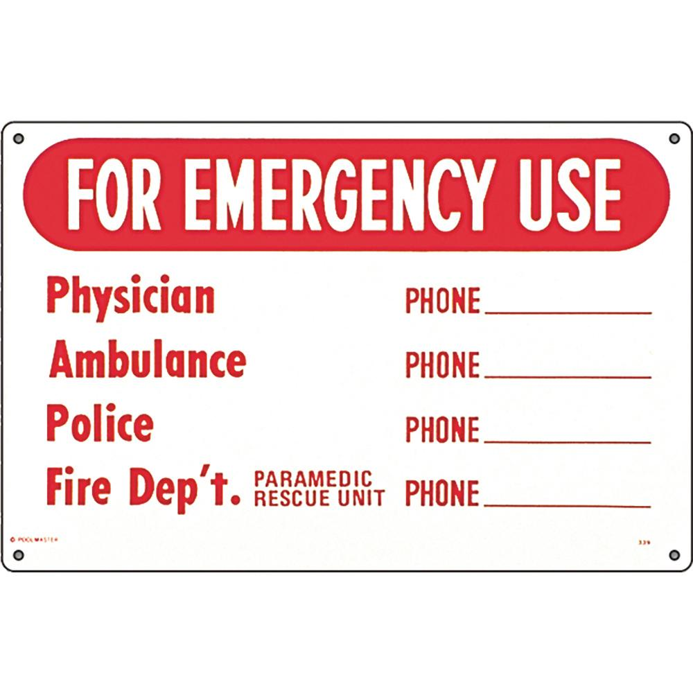 Poolmaster Residential or Commercial Swimming Pool Signs, Emergency