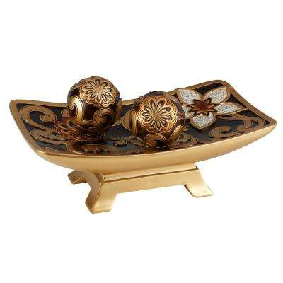Gold And Brown Azalea Polyresin Decorative Bowl With Spheres