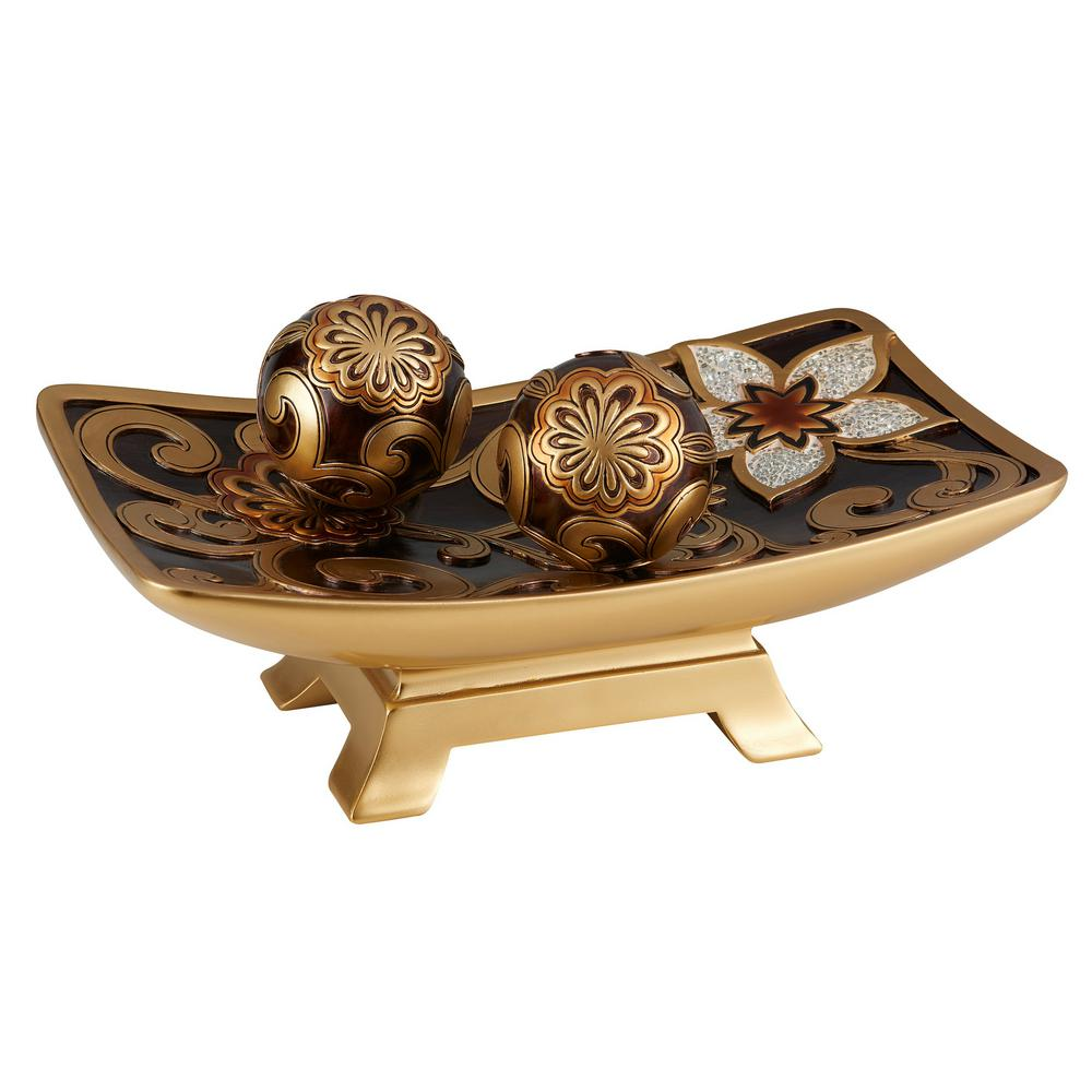 OK LIGHTING Gold And Brown Azalea Polyresin Decorative Bowl With Spheres was $123.44 now $80.23 (35.0% off)