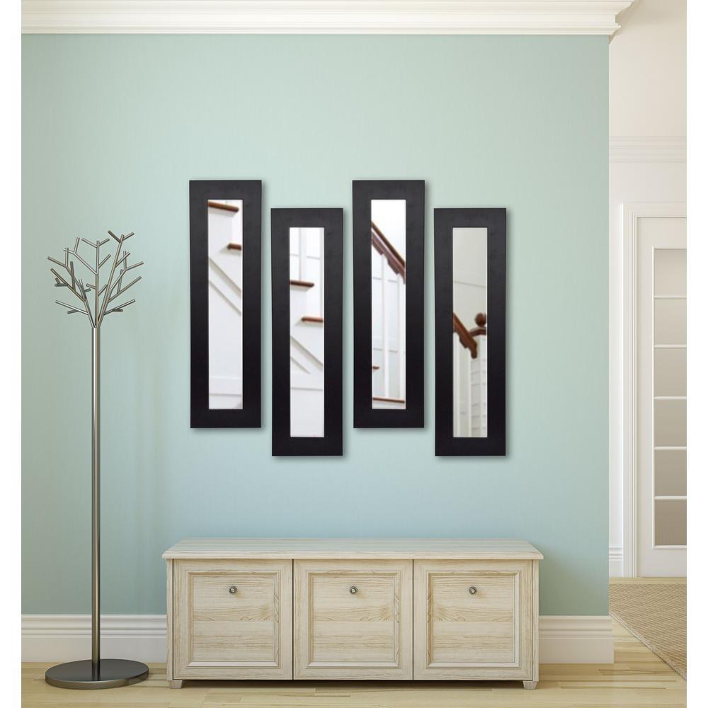 11.5 inch x 29.5 inch Black Satin Wide Vanity Mirror (Set of 4-Panels) by