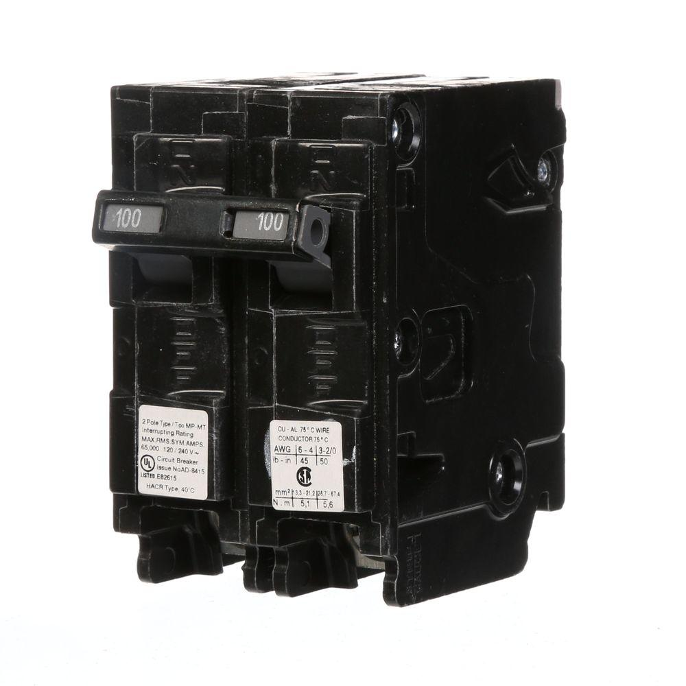 Ge Q Line 100 Amp 2 In Double Pole Circuit Breaker Thql21100p The Cost To Replace Aluminum Wiring Canada Type Mp Mt 65k