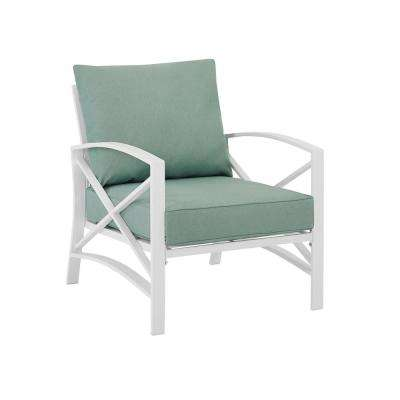 Kaplan White Metal Outdoor Lounge Chair with Mist Cushions