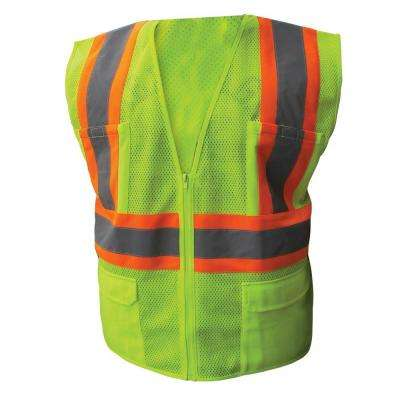 Size Extra-Large Lime ANSI Class 2 Poly Mesh Safety Vest Zipper Closure
