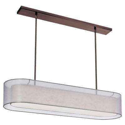 Melissa 4-Light Oil-Brushed Bronze Oval Pendant with Double Shade Silver White