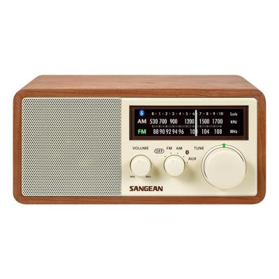 FM/AM/Aux-in/Bluetooth Wooden Cabinet Radio with USB Phone Charging Port