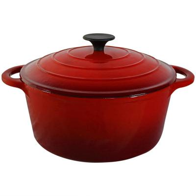 Cast Iron Pre-Seasoned Pot with Red Enamel