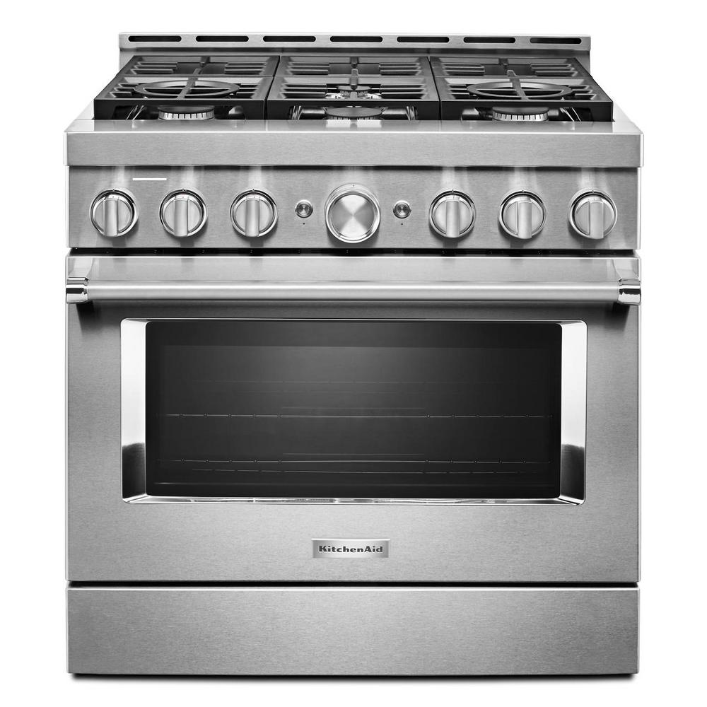 KitchenAid 36 in. 5.1 cu. ft. Smart Commercial-Style Gas Range with Self-Cleaning and True Convection in Stainless Steel