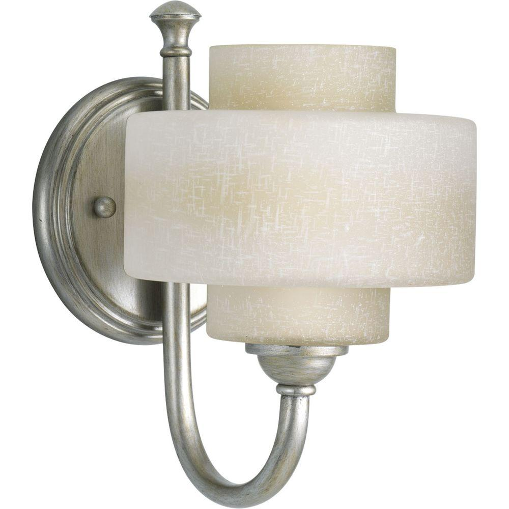 Progress Lighting Ashbury Collection 1-Light Silver Ridge Bath Sconce with Toasted Linen Glass Shade