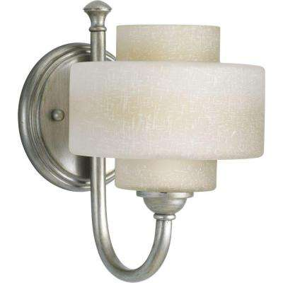 Ashbury Collection 1-Light Silver Ridge Bath Sconce with Toasted Linen Glass Shade