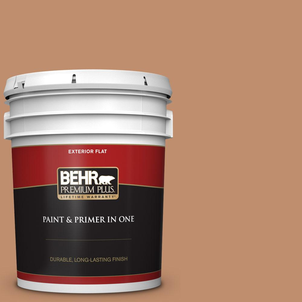 Behr Premium Plus 5 Gal 260f 5 Applesauce Cake Flat Exterior Paint And Primer In One 440005 The Home Depot