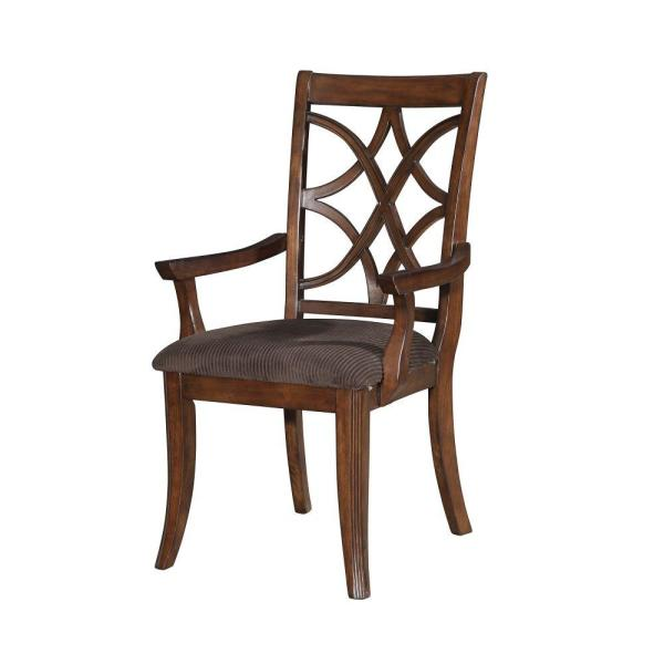 40.5 in. H Brown Wooden Arm Chair with Fabric Padded Seat and Lattice Design Backrest (Set of 2)