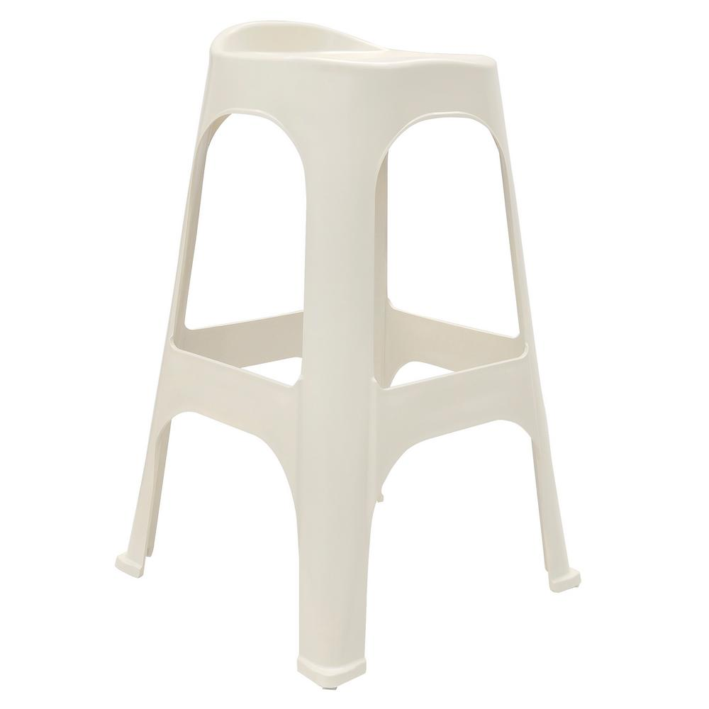 30 in. RealComfort White Resin Outdoor Bar stool (Set of 2)