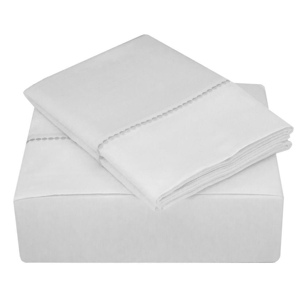 Highlights 400 Thread Count White Cotton Dot Cuff Dot Queen Sheet