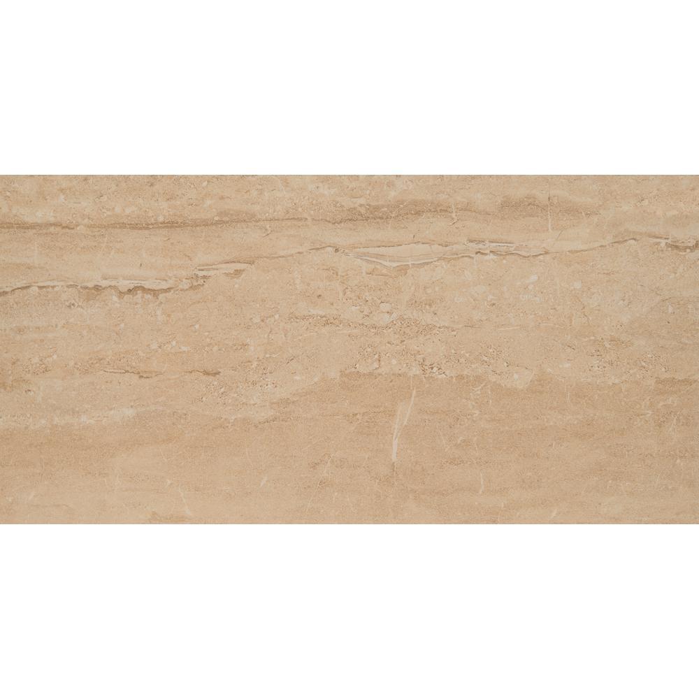 Onyx Dunes Beige 12 in. x 24 in. Polished Porcelain Floor