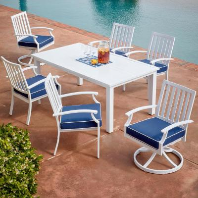 Bridgeport 7-Piece White Aluminum Outdoor Dining Set with Blue Cushions