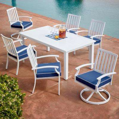 Bridgeport 7-Piece White Metal Outdoor Dining Set with Blue Cushions