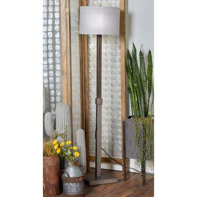 62 in. Gray Adjustable Floor Lamp with White Drum Shade