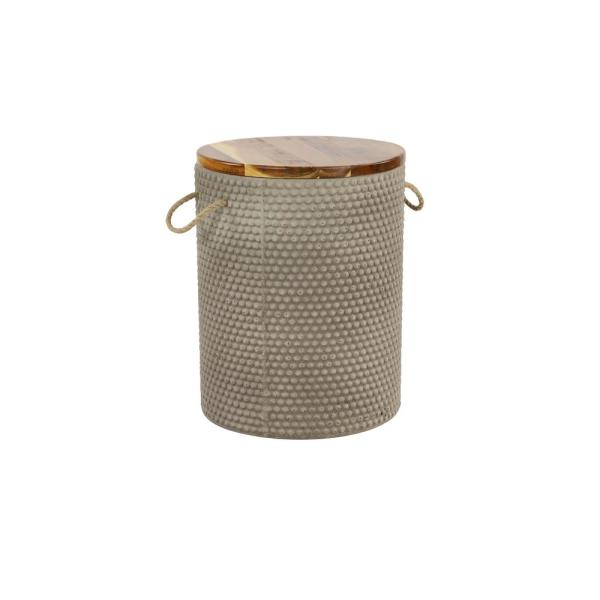 Litton Lane Modern Small Round Wood and Gray Clay Outdoor Accent