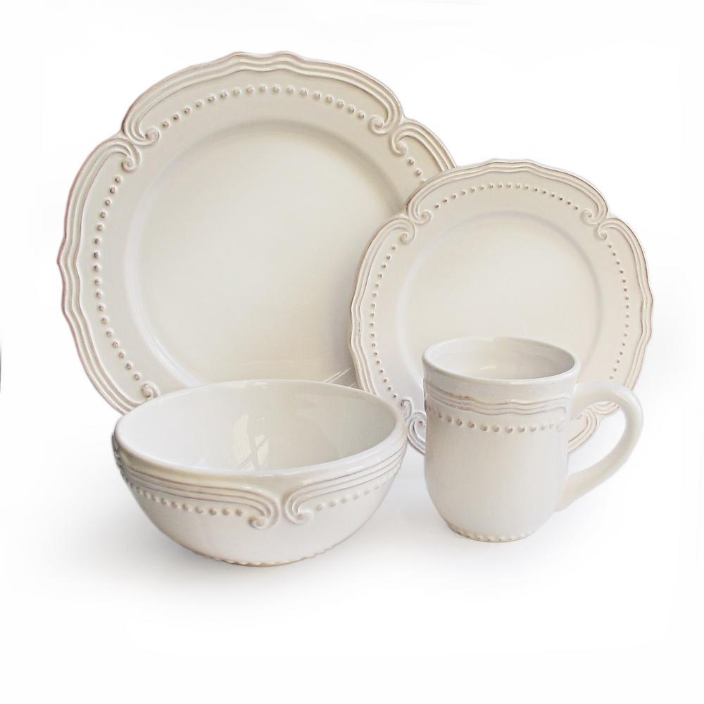 16-Piece White Victoria Dinnerware Set