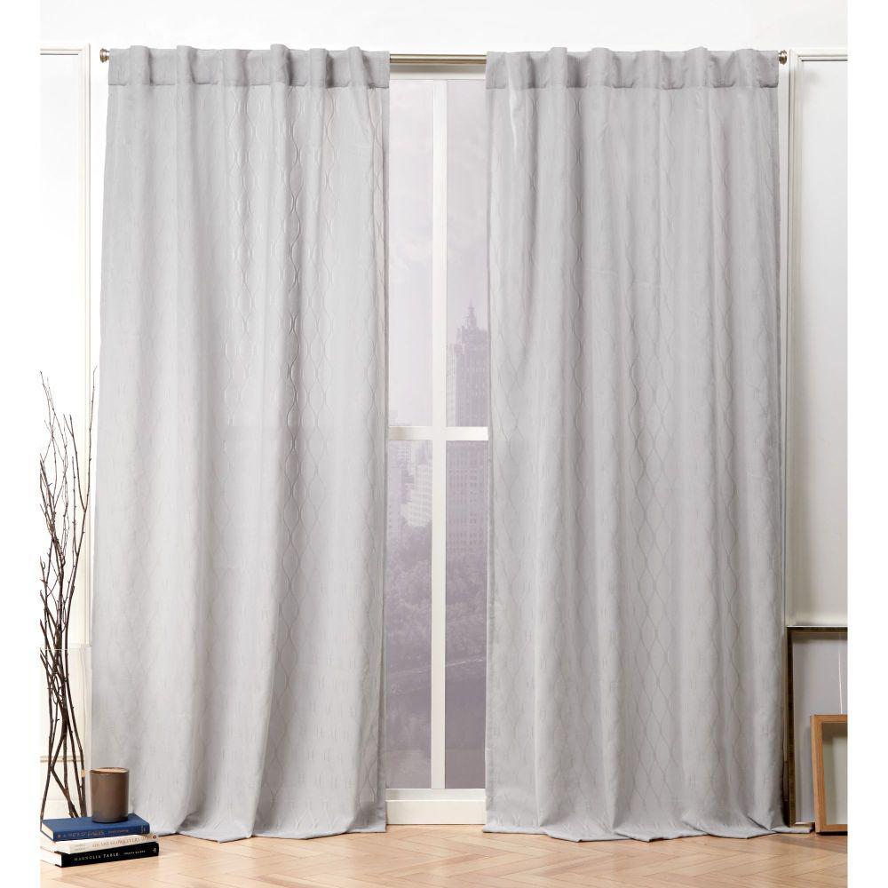 Nicole Miller Tangled Silver Sheer Hidden Tab Top Curtain Panel 54 In W X 84 L 2