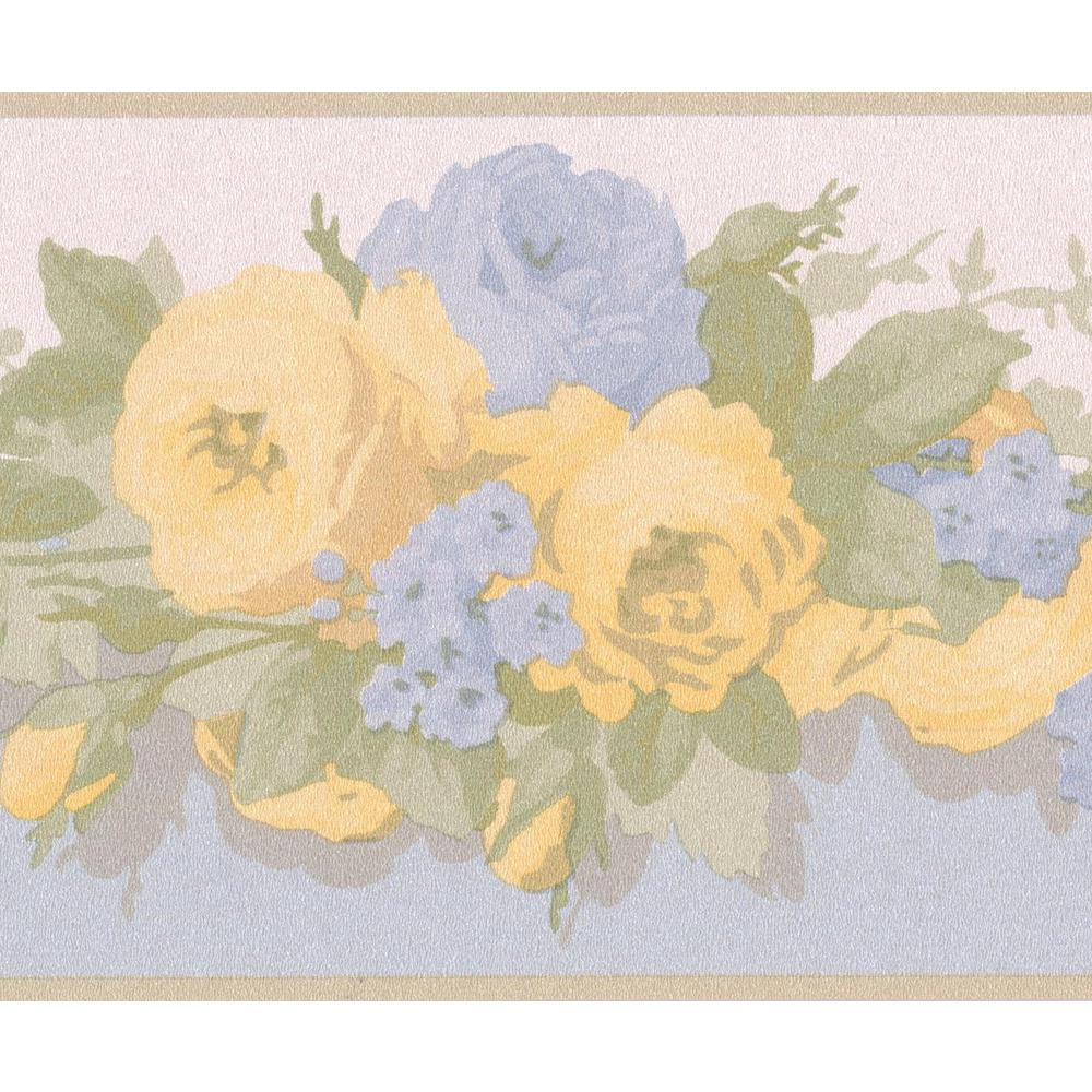 Retro Art Yellow Blue Bloomed Roses Floral Prepasted Wallpaper