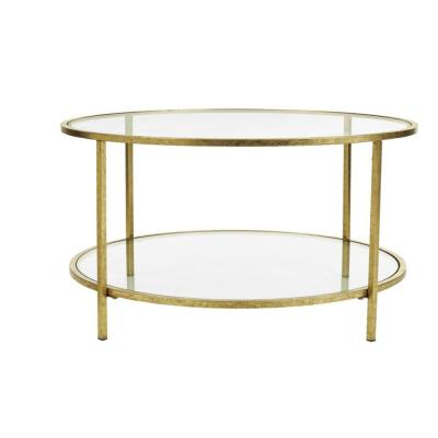 Bella 34 in. Gold Leaf/Clear Medium Round Glass Coffee Table with Shelf
