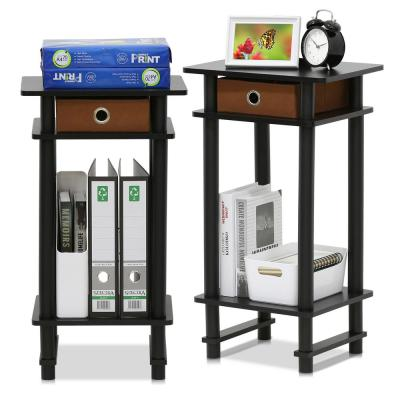 Turn-N-Tube Espresso and Brown Tall End Table with Bin (Set of 2)
