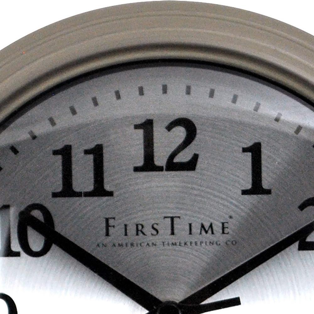 FirsTime-7 in. Round Sleek Steel Wall Clock