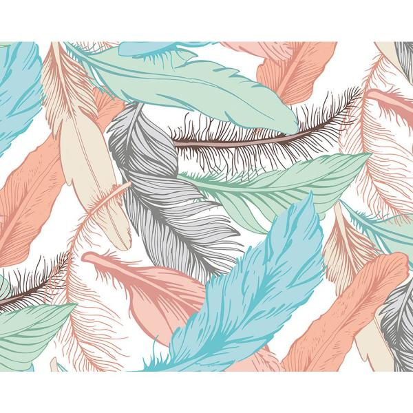 Ohpopsi Pastel Feathers Wall Mural Wals0290 The Home Depot