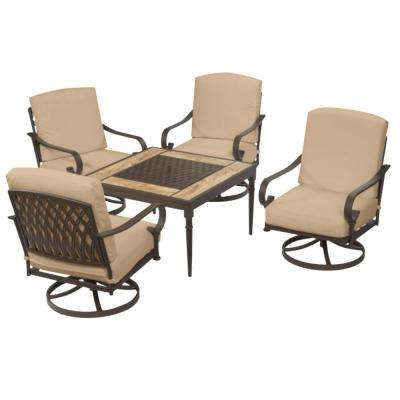Oak Cliff Brown 5-Piece Steel Outdoor Patio Fire Pit Conversation Seating Set with Sunbrella Beige Tan Cushions