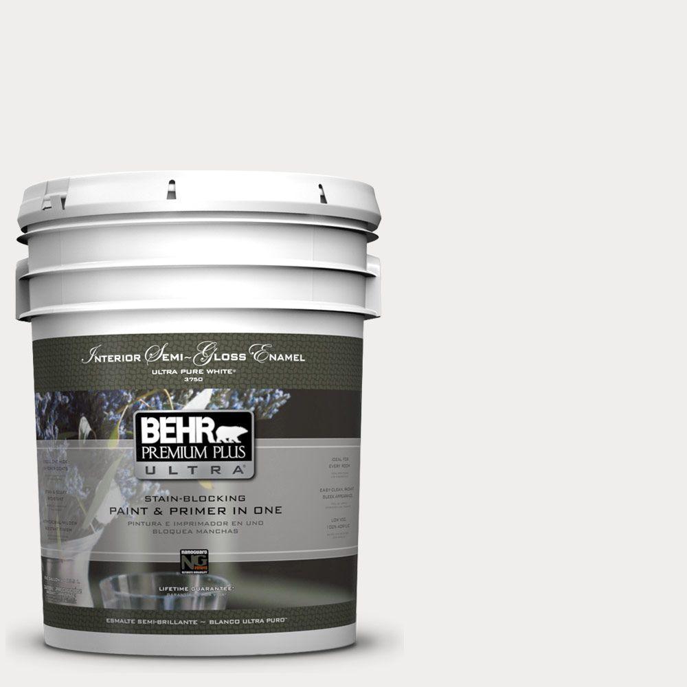 BEHR Premium Plus Ultra 5-gal. #PWN-53 White Mink Semi-Gloss Enamel Interior Paint