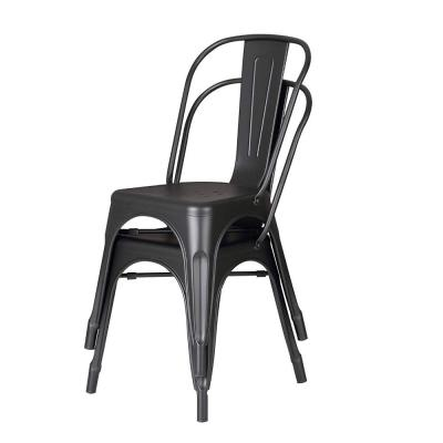 Bonzy Home Metal Kitchen Dining Chairs,Stackable Farmhouse Chair,Outdoor Patio Restaurant Chair,High Back Wide Seat,Set of 4 Gun