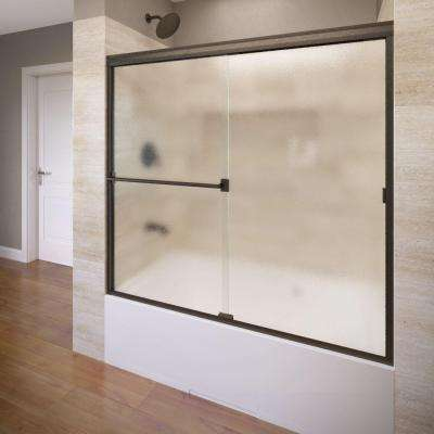 Classic 60 in. x 57 in. Obscure Semi-Framed Sliding Door in Oil Rubbed Bronze