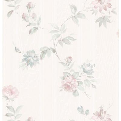 Kitchen Bath Bed Resource III Off-White Floral Trail Wallpaper Sample