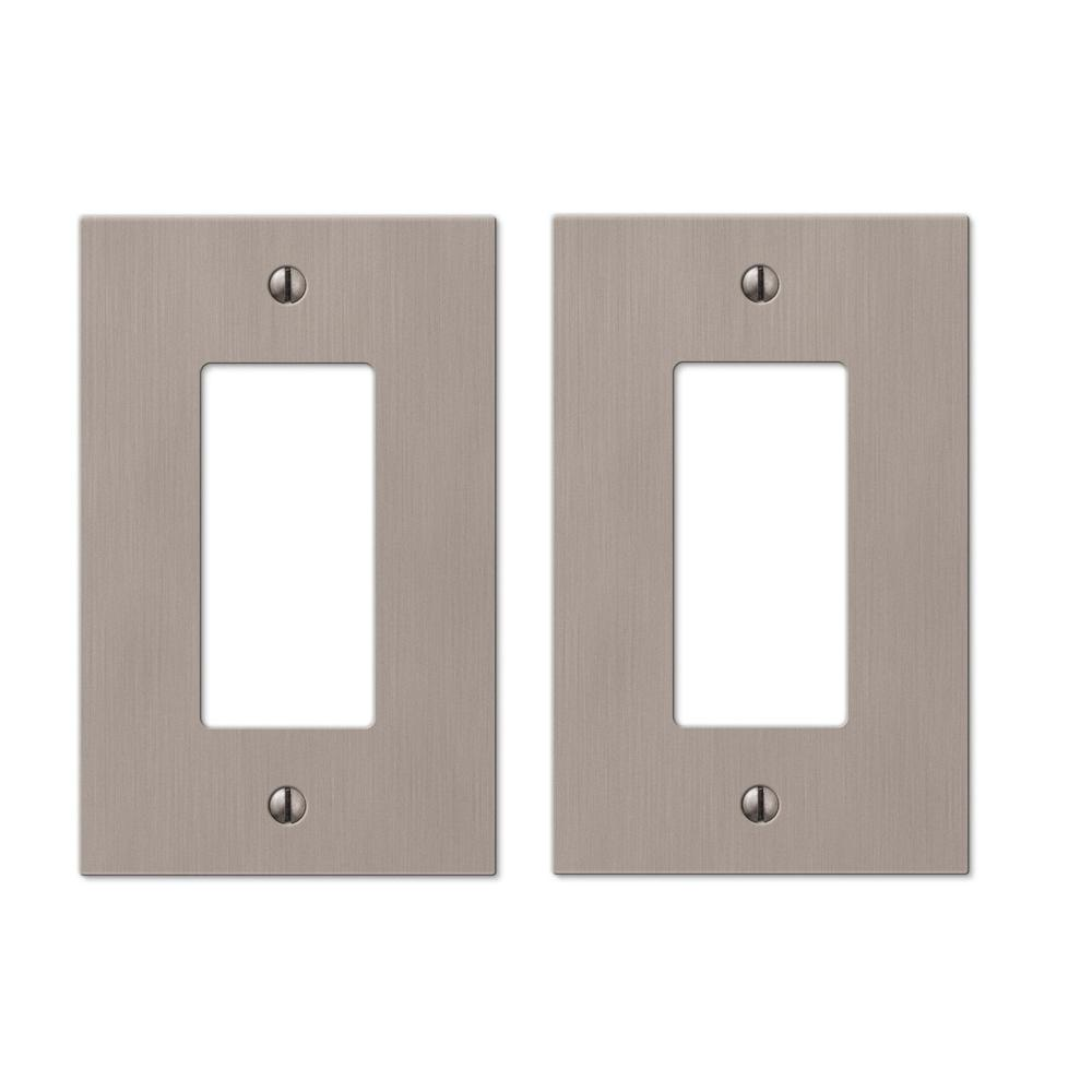 Hampton Bay Barnard 1 Decora Wall Plate In Brushed Nickel Cast 2 Pack