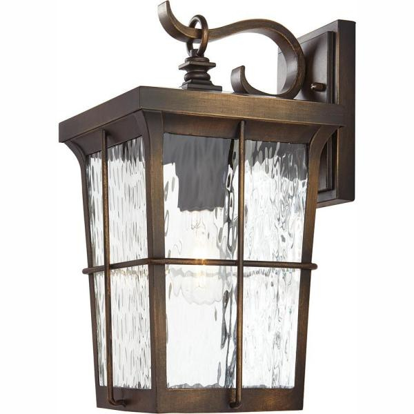 Barrington 1-Light Golden Bronze Outdoor 14 in. Wall Lantern Sconce with Clear Water Glass